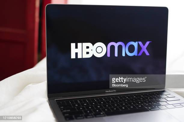 Signage for the ATT Inc WarnerMedia HBO Max streaming service is displayed on a laptop computer in an arranged photograph taken in the Brooklyn...