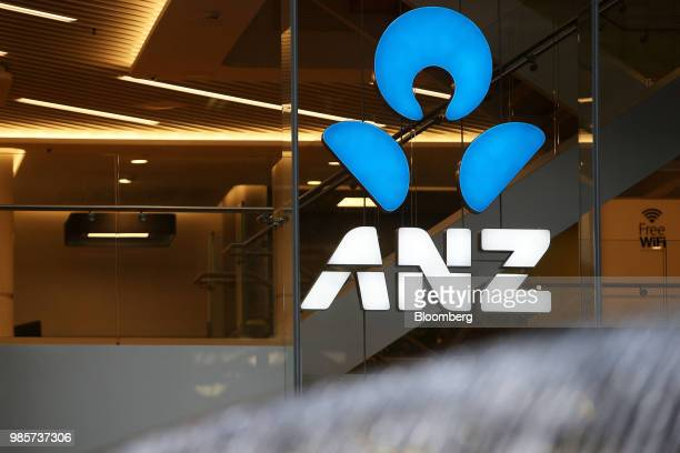 Signage for the Australia New Zealand Banking Group Ltd is displayed at a branch in the central business district of Sydney Australia on Sunday June...