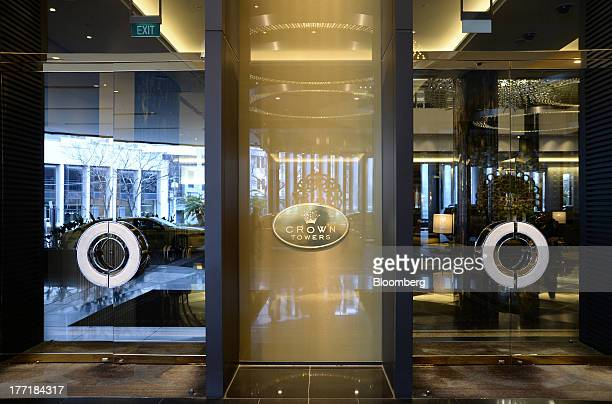 Signage for the Crown Towers hotel part of the Crown Melbourne casino and entertainment complex operated by Crown Ltd is displayed at the entrance to...