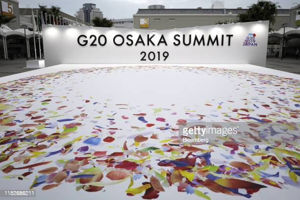 Signage for the Group of 20 summit is displayed in Osaka, Japan, on Friday, June 28, 2019. Leaders from some of the worlds wealthiest countries are...