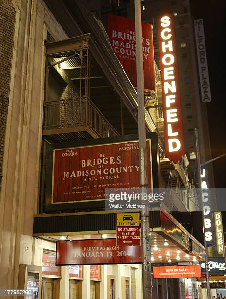 Signage for the new musical 'The Bridges Of Madison County' on Broadway starring Kelli O'Hara and Steven Pasquale is unveiled at the Gerald...