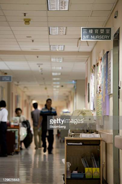 Signage for the nursery is displayed in the Union Hospital in Hong Kong China on Tuesday Oct 18 2011 The number of babies born in Hong Kong almost...