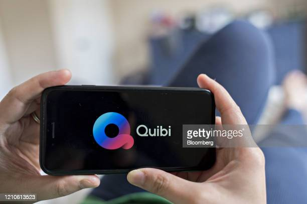 Signage for the Quibi shortform mobile video service is displayed on a smartphone in an arranged photograph taken in Arlington Virginia US on Tuesday...