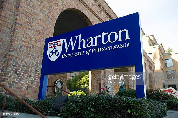 Signage for the University of Pennsylvania's Wharton School stands outside of the new campus in San Francisco, California, U.S., on Friday, Feb. 3,...