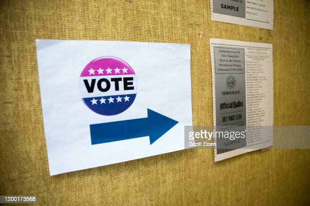 Signage for voters at the Broken Ground School during the presidential primary on February 11 2020 in Concord New Hampshire Voters are at the polls...