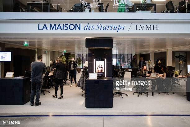Signage hangs above the LVMH startup accelerator space during its inauguration at Station F technology campus in Paris France on Monday April 9 2018...