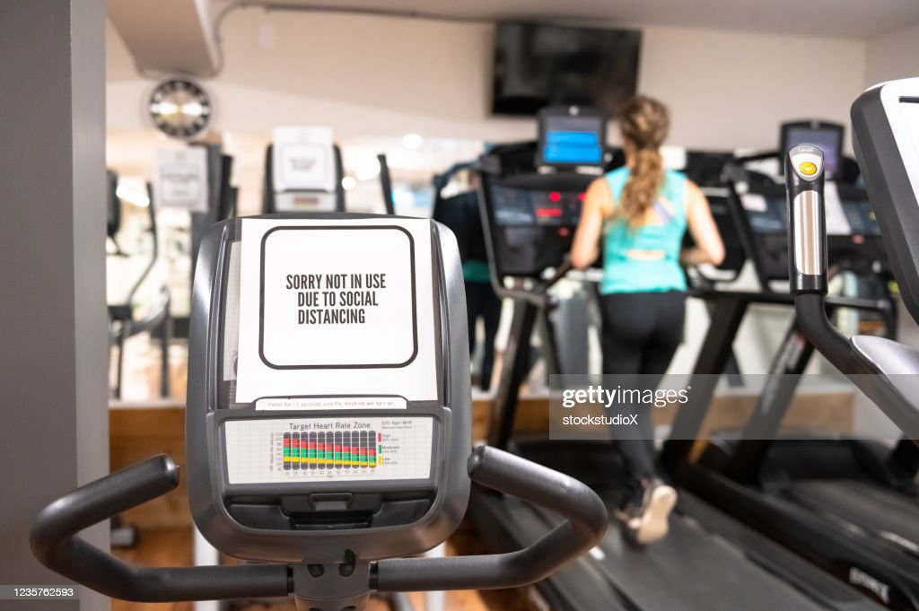COVID Signage in a gym : Stock Photo