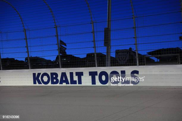 Signage in the early morning prior to the running of the Boyd Gaming 300 at Las Vegas Motor Speeddway in Las Vegas NV