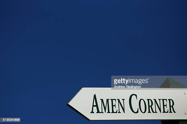 Signage indicates the direction to Amen Corner during a practice round prior to the start of the 2016 Masters Tournament at Augusta National Golf...