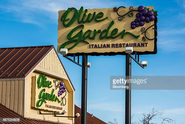 Signage is displayed at a Darden Restaurants Inc Olive Garden location in Reno Nevada US on Thursday March 19 2015 Darden reported a 22 percent...