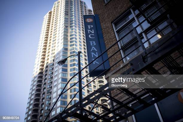 Signage is displayed at a PNC Financial Services Group Inc bank branch in downtown Chicago Illinois US on Monday Jan 8 2018 PNC Financial Services...