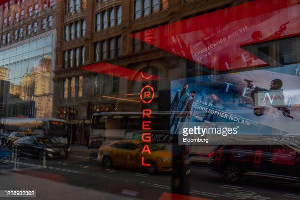 Signage is displayed at a Regal Cinemas movie theater at Union Square in New York, U.S., on Tuesday, Oct. 6, 2020. More than 7,000 movie screens will...