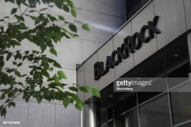 Signage is displayed at BlackRock Inc headquarters in New York US on Wednesday June 11 2018 BlackRock Inc is scheduled to release earnings figures on...
