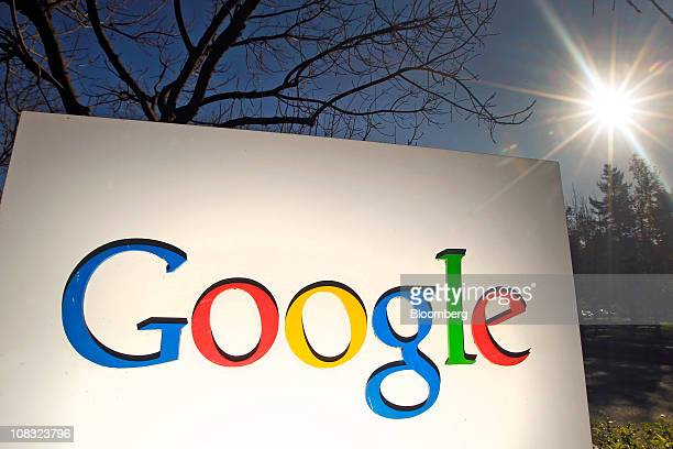 Signage is displayed at Google Inc headquarters in Mountain View California US on Tuesday Jan 25 2011 Google Inc owner of the world's most popular...