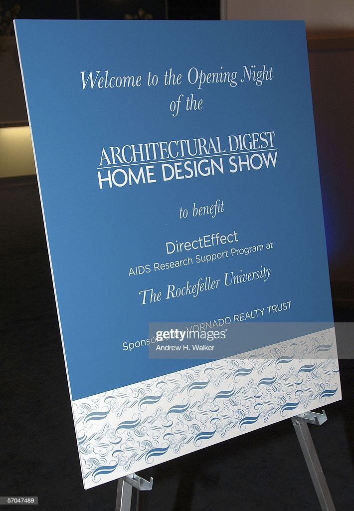 Signage Is Displayed At The Architectural Digest Home Design Show Opening  Night Gala On March 9