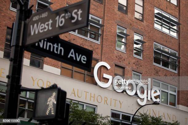Signage is displayed at the Google Inc offices in New York US on Tuesday Aug 22 2016 WalMart Stores Inc is teaming up with Google to let shoppers...