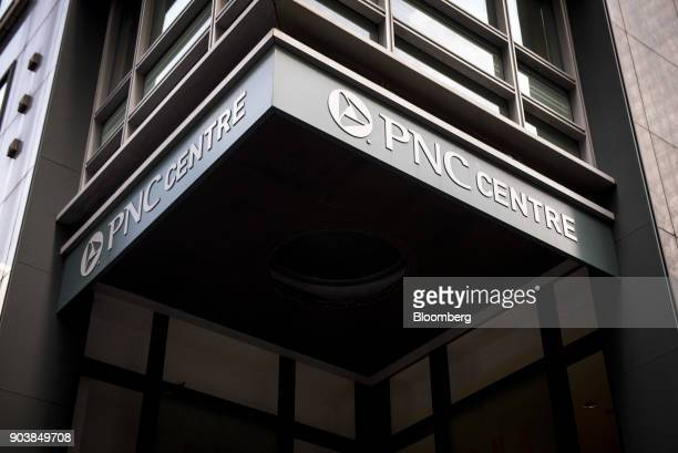 Signage is displayed at the PNC Financial Services Group Inc Centre in downtown Chicago Illinois US on Tuesday Jan 9 2018 PNC Financial Services...