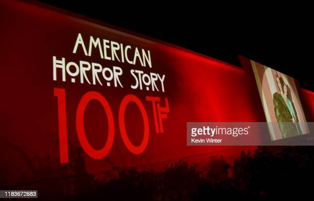 """Signage is displayed during FX's """"American Horror Story"""" 100th Episode Celebration at Hollywood Forever on October 26, 2019 in Hollywood, California."""