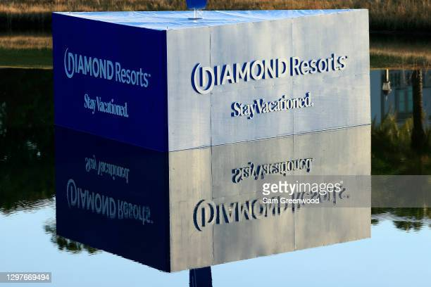 Signage is displayed during the first round of the Diamond Resorts Tournament Of Champions at Tranquilo Golf Course at the Four Seasons Golf and...
