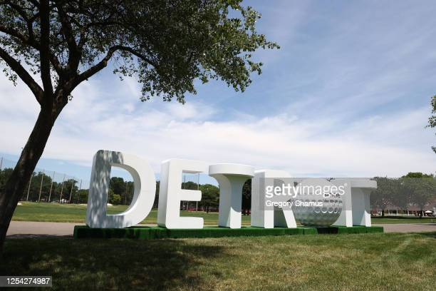 Signage is displayed during the third round of the Rocket Mortgage Classic on July 04, 2020 at the Detroit Golf Club in Detroit, Michigan.