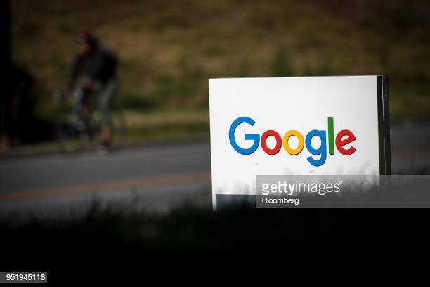 Signage is displayed in front of Google Inc headquarters in Mountain View California US on Wednesday April 25 2018 Alphabet Inc is pushing efforts to...