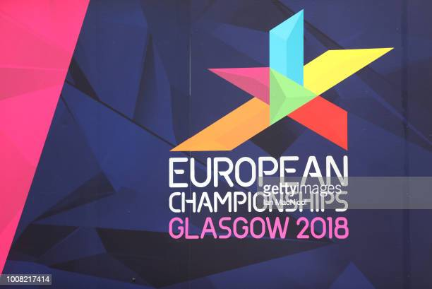 Signage is displayed in George Square prior to the European Championships Glasgow 2018 on July 31 2018 in Glasgow Scotland
