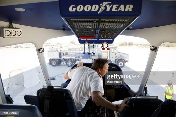 Signage is displayed in the cockpit of the Goodyear Tire Rubber Co Wingfoot Two blimp at the company's airship base in Carson California US on Friday...