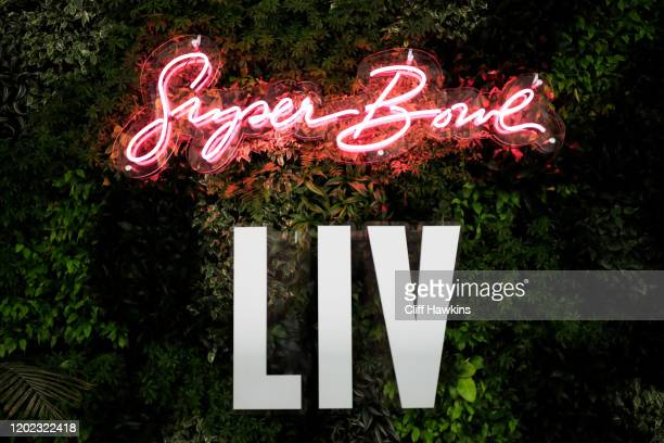Signage is displayed inside the Miami Beach Convention Center during the Super Bowl Experience prior to Super Bowl LIV on January 27 2020 in Miami...