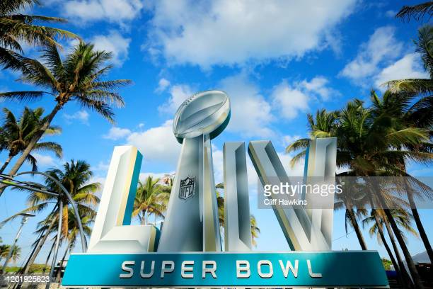 Signage is displayed near the FOX Sports South Beach studio compound prior to Super Bowl LIV on January 25 2020 in Miami Beach Florida The San...