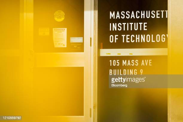 Signage is displayed on a door on the Massachusetts Institute of Technology campus in Cambridge Massachusetts US on Monday April 20 2020...