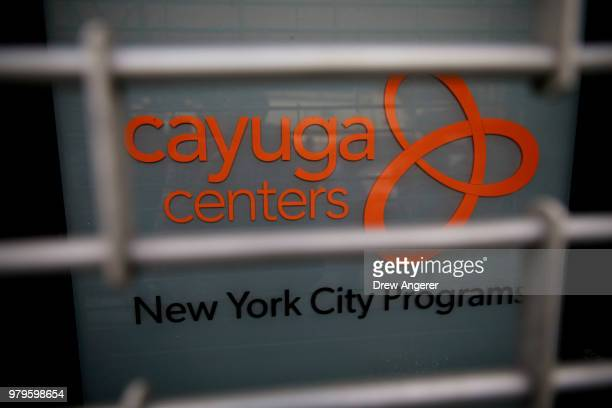 Signage is displayed on a door to the Cayuga Center in East Harlem a facility currently accepting children separated from their families at the...