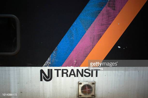 Signage is displayed on a New Jersey Transit train in Newark New Jersey US on Thursday Aug 9 2018 Murphy on the job for seven months pinned New...