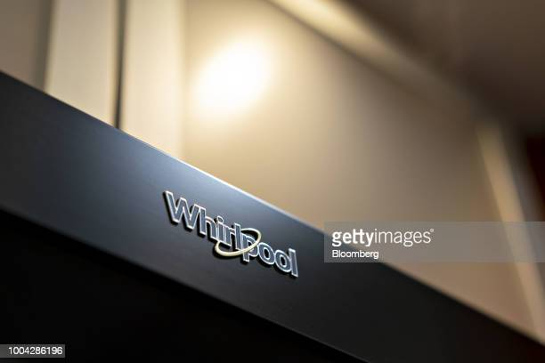 Whirlpool Corp signage is displayed on a electric range stove at the Valley Appliance Sales store in Peru Illinois US on Friday July 20 2018...