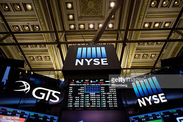 Signage is displayed on monitors inside the New York Stock Exchange in New York US on Monday Dec 5 2016 US stocks climbed reversing a brief dip in...