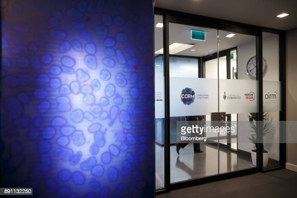 Signage is displayed on the door to the laboratory of the Centre for Commercialization of Regenerative Medicine at the MaRS Discovery District in...