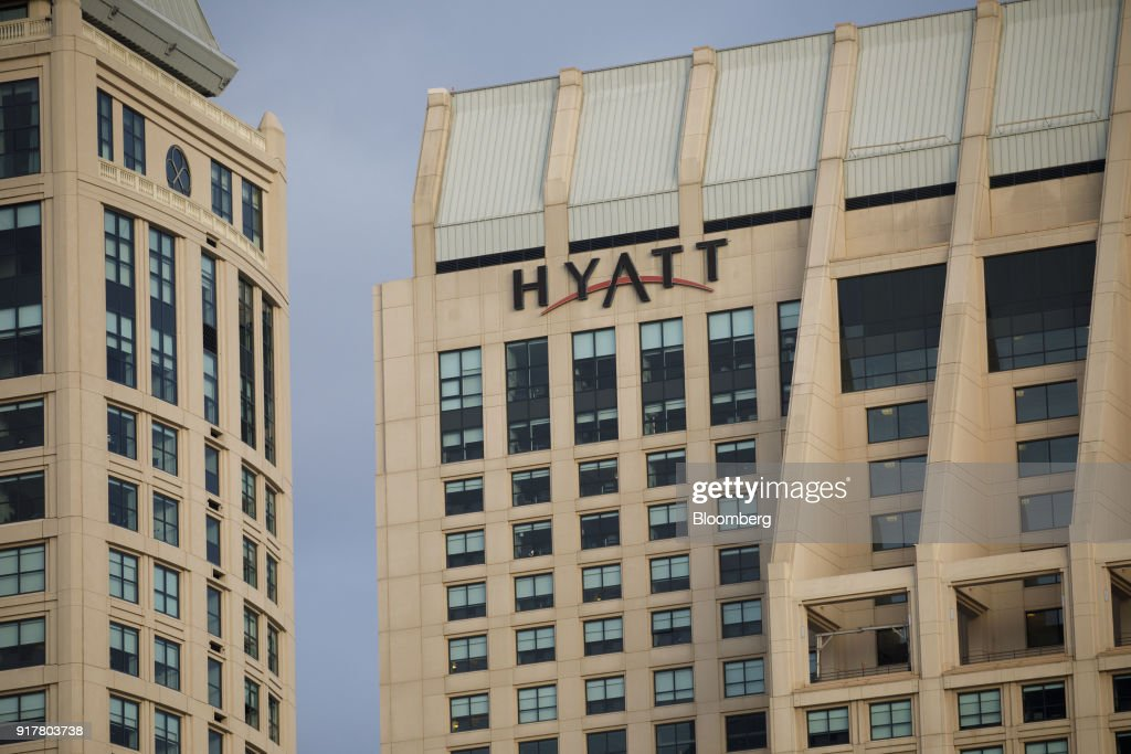 Signage is displayed on the exterior of the Manchester Grand Hyatt Hotel in San Diego, California, U.S., on Sunday, Feb. 11, 2018. Hyatt Hotels Corp. is scheduled to release earnings figures on February 14. Photographer: Patrick T. Fallon/Bloomberg via Getty Images