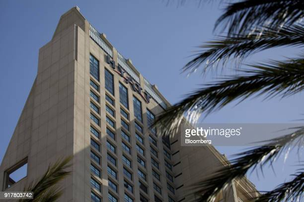 Signage is displayed on the exterior of the Manchester Grand Hyatt Hotel in San Diego California US on Sunday Feb 11 2018 Hyatt Hotels Corp is...