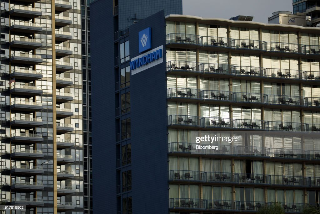 Signage is displayed on the exterior of the Wyndham San Diego Bayside hotel in San Diego, California, U.S., on Sunday, Feb. 11, 2018. Wyndham Worldwide Corp. is scheduled to release earnings figures on February 14. Photographer: Patrick T. Fallon/Bloomberg via Getty Images