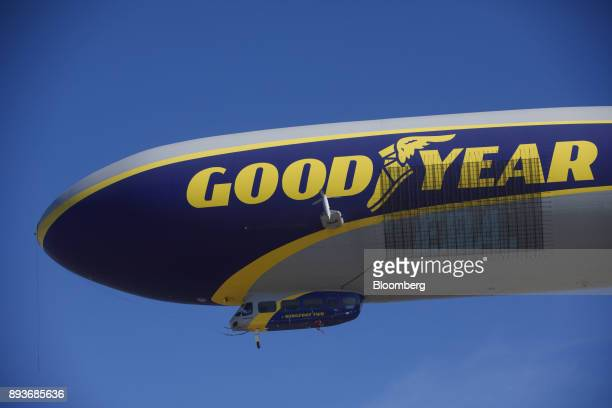 Signage is displayed on the Goodyear Tire Rubber Co Wingfoot Two blimp as it arrives at the company's airship base in Carson California US on Friday...