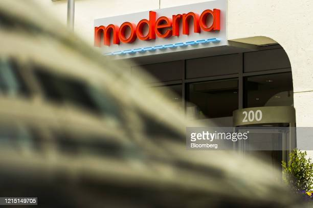 Signage is displayed on the Moderna Inc headquarters in Cambridge Massachusetts US on Monday May 25 2020 An experimental coronavirus vaccine from...