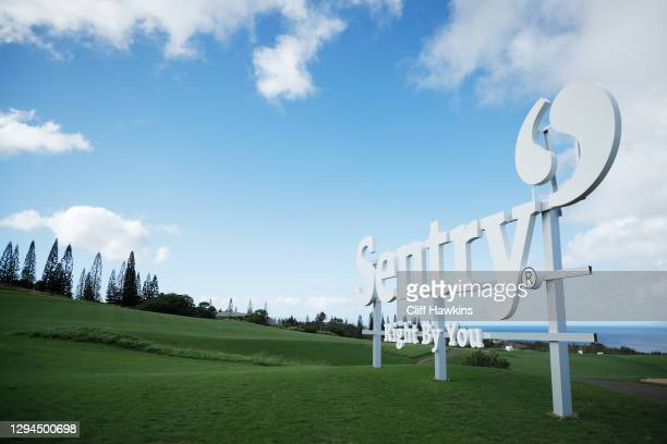 Signage is displayed on the tenth hole during a practice round prior to the Sentry Tournament Of Champions on the Plantation Course at Kapalua Golf...