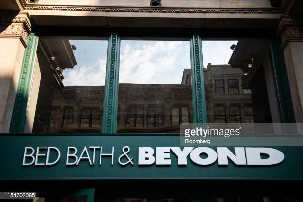 Signage is displayed outside a Bed Bath & Beyond Inc. Store in New York, U.S., on Wednesday, July 3, 2019. Bed Bath & Beyond is scheduled to release...
