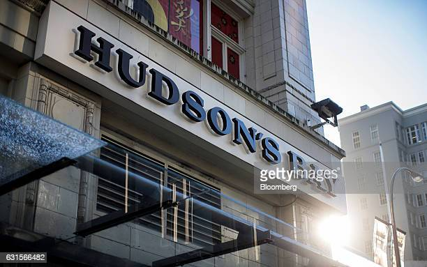 Signage is displayed outside a Hudson's Bay Co store in downtown Vancouver British Columbia Canada on Thursday Jan 12 2017 Hudsons Bay Co the...