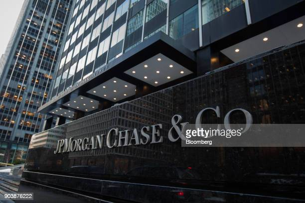 Signage is displayed outside a JPMorgan Chase Co office building in New York US on Tuesday Jan 9 2018 JPMorgan Chase Co is scheduled to release...