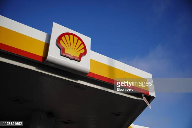 Signage is displayed outside a Royal Dutch Shell Plc gas station in Torrance, California, U.S., on Sunday, July 28, 2019. Royal Dutch Shell is...