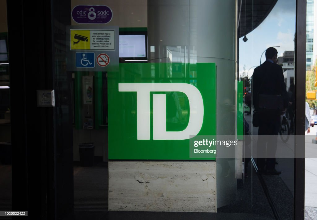 Signage is displayed outside a Toronto-Dominion Canada Trust