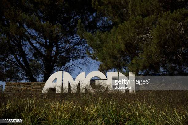 Signage is displayed outside Amgen Inc. Headquarters in Thousand Oaks, California, U.S., on Thursday, Aug. 27, 2020. Amgen is among the world's...