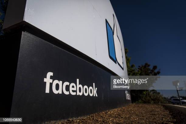 Signage is displayed outside Facebook Inc. Headquarters in Menlo Park, California, U.S., on Tuesday, Oct. 30, 2018. Facebook Inc., which had warned...