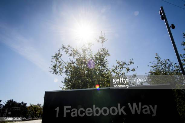 Signage is displayed outside Facebook Inc headquarters in Menlo Park California US on Tuesday Oct 30 2018 Facebook Inc which had warned of rising...