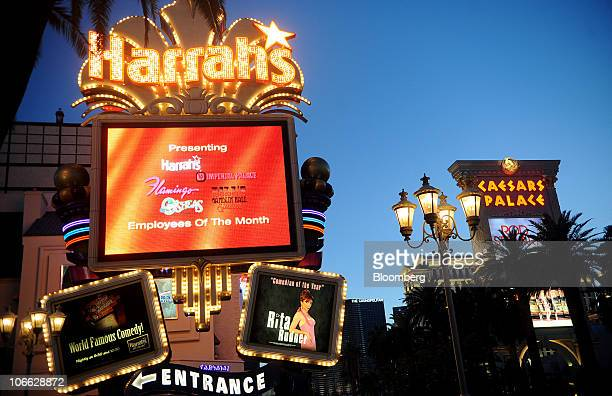 Signage is displayed outside Harrah's Casino which stands near Caesar's Palace in Las Vegas, Nevada, U.S., on Friday, November 5, 2010. Harrah's...